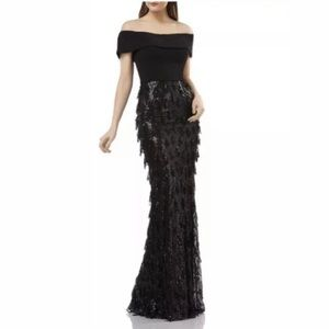 Carmen Marc Valvo Infusion Sequined Gown